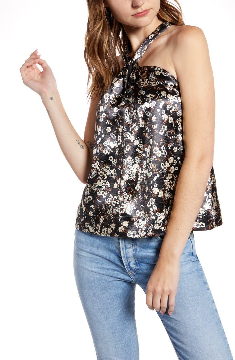 REBECCA MINKOFF Winnie Floral Satin Halter Top, Main, color, BLACK MULTI