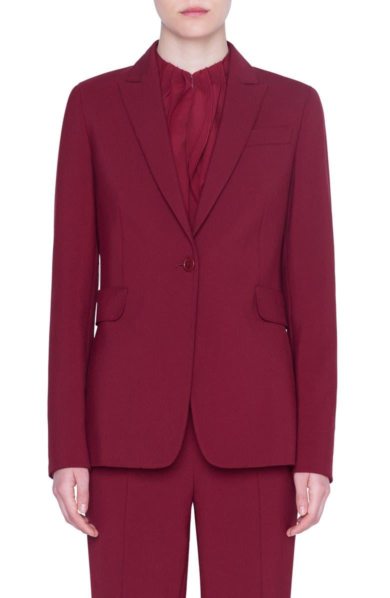 AKRIS PUNTO Pebble Crepe Jersey One-Button Blazer, Main, color, RUBY