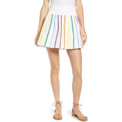 English Factory Rainbow Rickrack Cotton Miniskirt, White