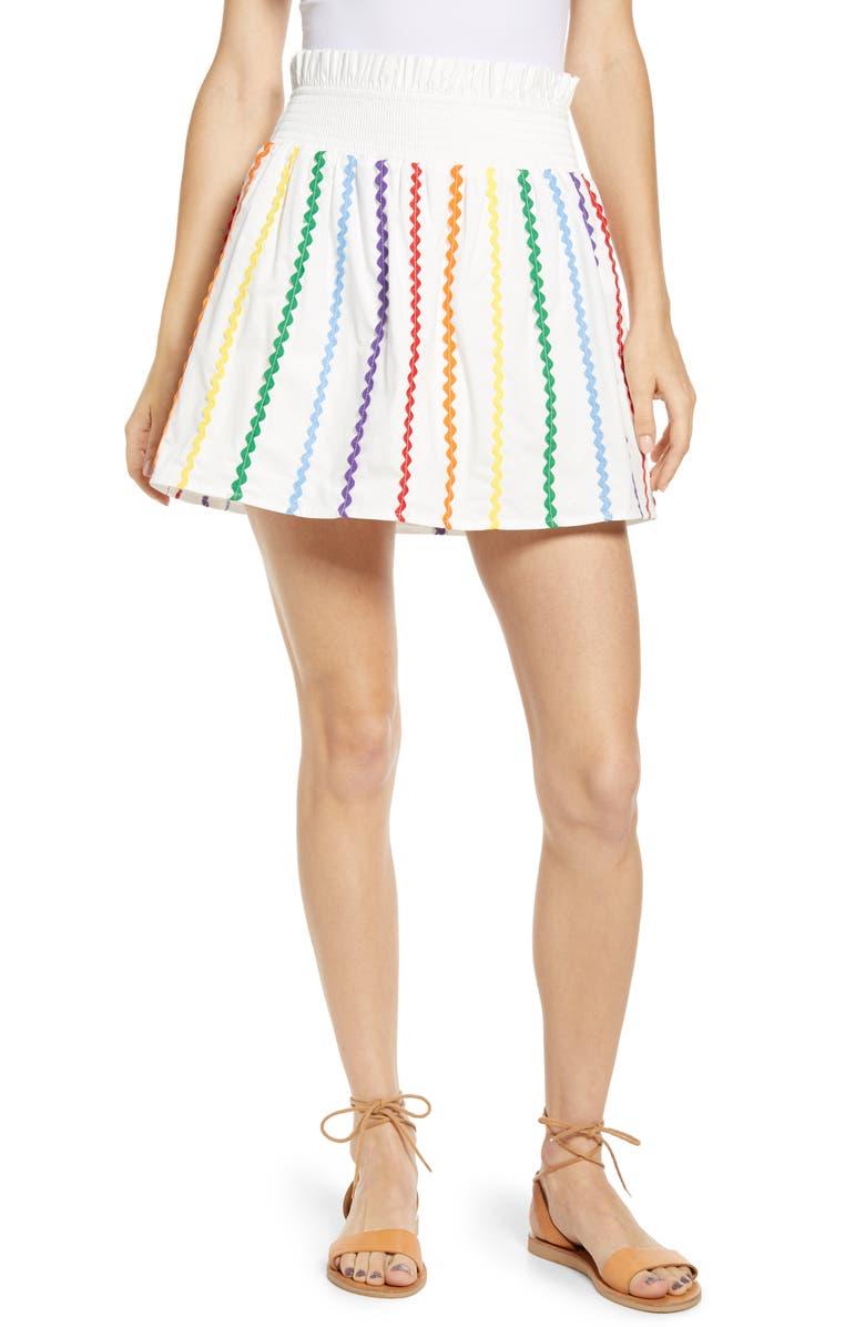 ENGLISH FACTORY Rainbow Rickrack Cotton Miniskirt, Main, color, 100