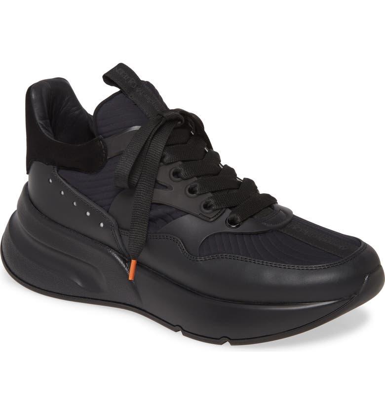 ALEXANDER MCQUEEN Runner Sneaker, Main, color, BLACK/ BLACK/ SILVER
