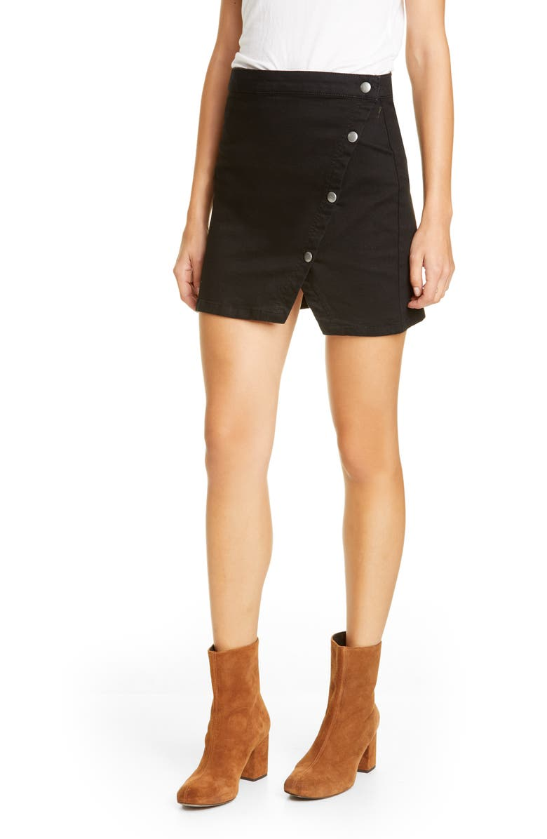FREE PEOPLE Notched Side Button Denim Miniskirt, Main, color, BLACK