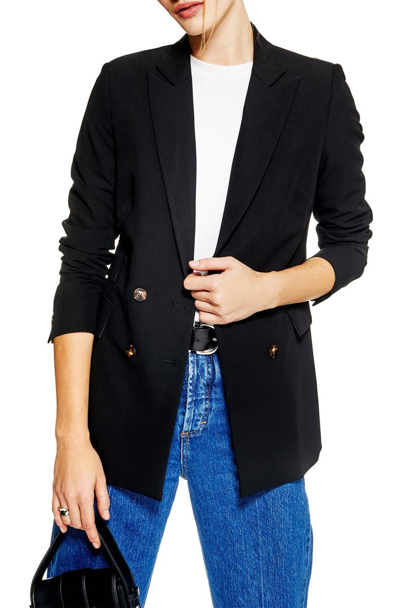 TOPSHOP Double Breasted Jacket, Main, color, 001
