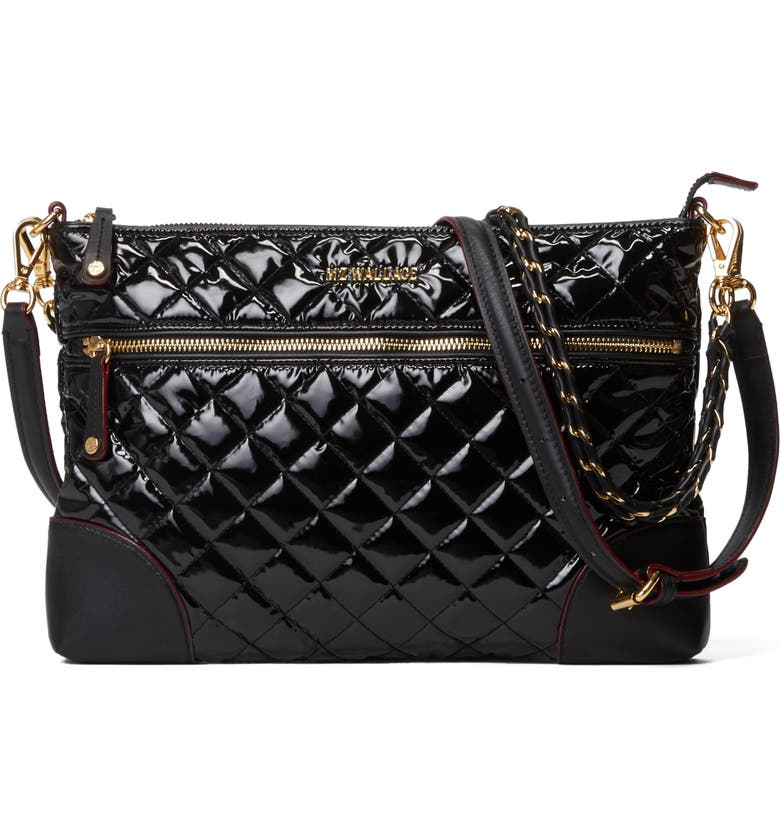 MZ WALLACE Medium Crosby Crossbody, Main, color, BLACK LACQUER