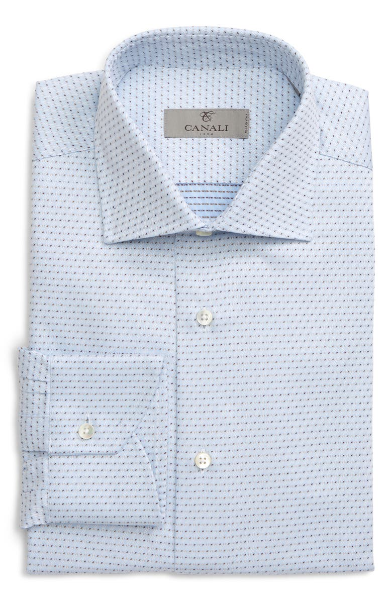 CANALI Regular Fit Print Dress Shirt, Main, color, BLUE