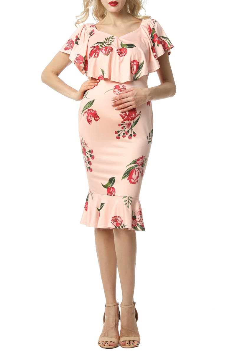 KIMI AND KAI Cleo Off the Shoulder Maternity Dress, Main, color, MULTICOLORED