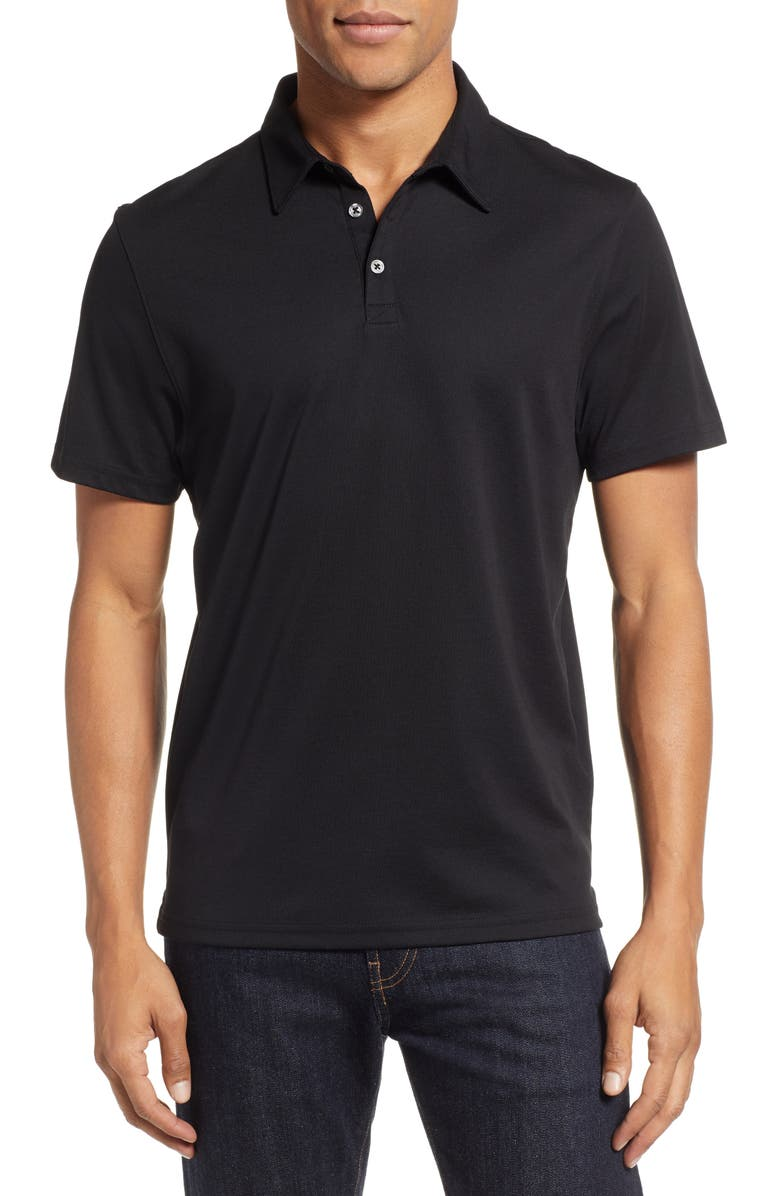 ZACHARY PRELL Caldwell Piqué Regular Fit Polo, Main, color, ONYX