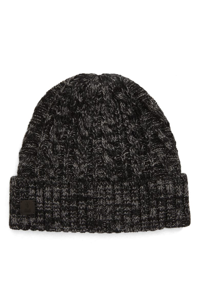 FRYE Marled Cable Cuff Beanie, Main, color, BLACK