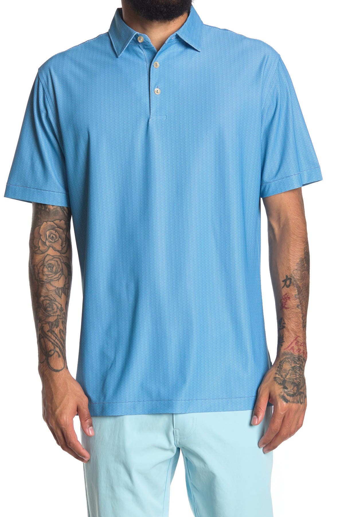 Image of Peter Millar Jamm Geo Print Stretch Mesh Polo