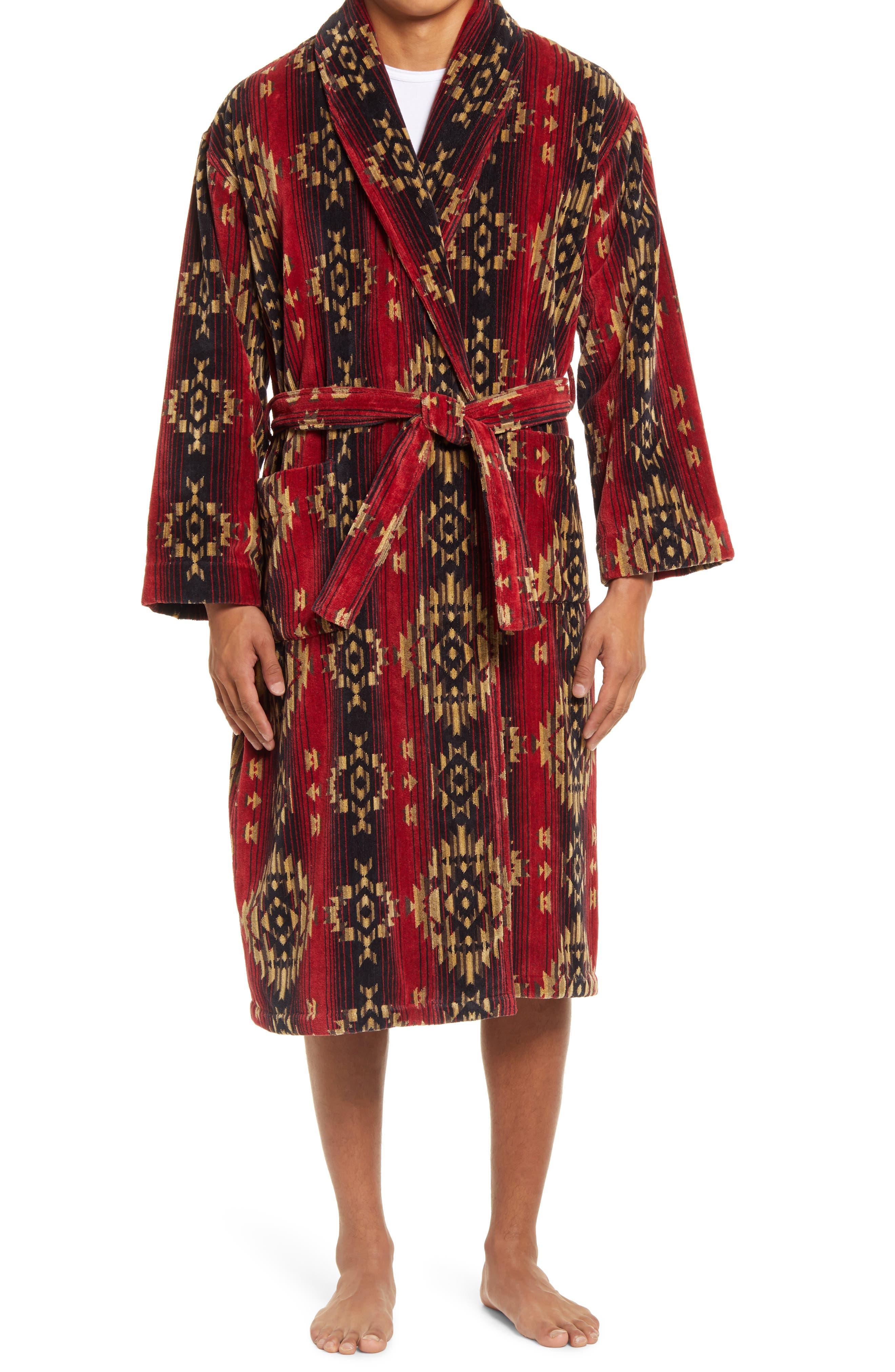 1940s Men's Underwear: Briefs, Boxers, Unions, & Socks Mens Majestic International Cotton Terry Velour Robe Size SmallMedium - Red $110.00 AT vintagedancer.com