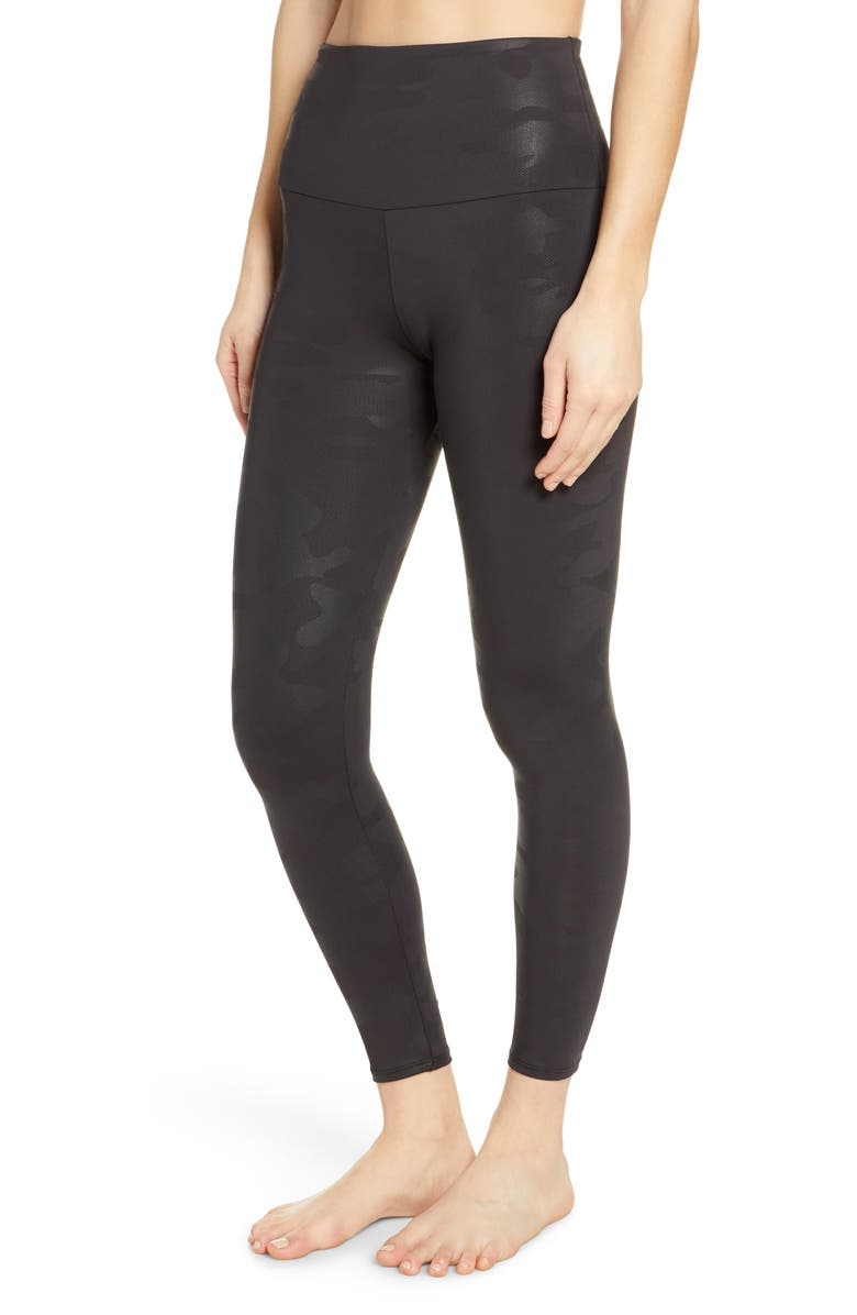 ONZIE Animal Foil High Waist Leggings, Main, color, BLACK FOIL CAMO