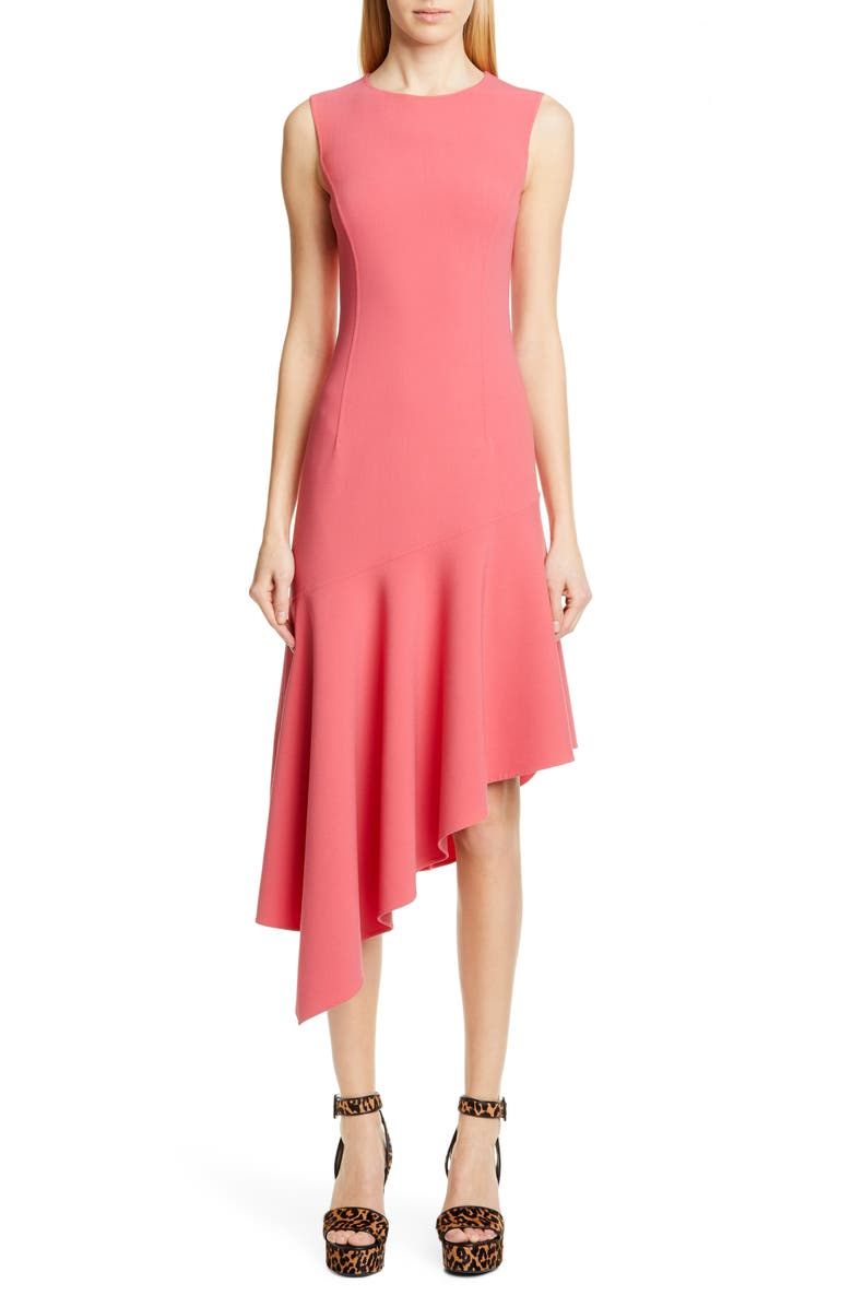MICHAEL KORS COLLECTION Michael Kors Asymmetrical Hem Crepe Dress, Main, color, ROSEWOOD