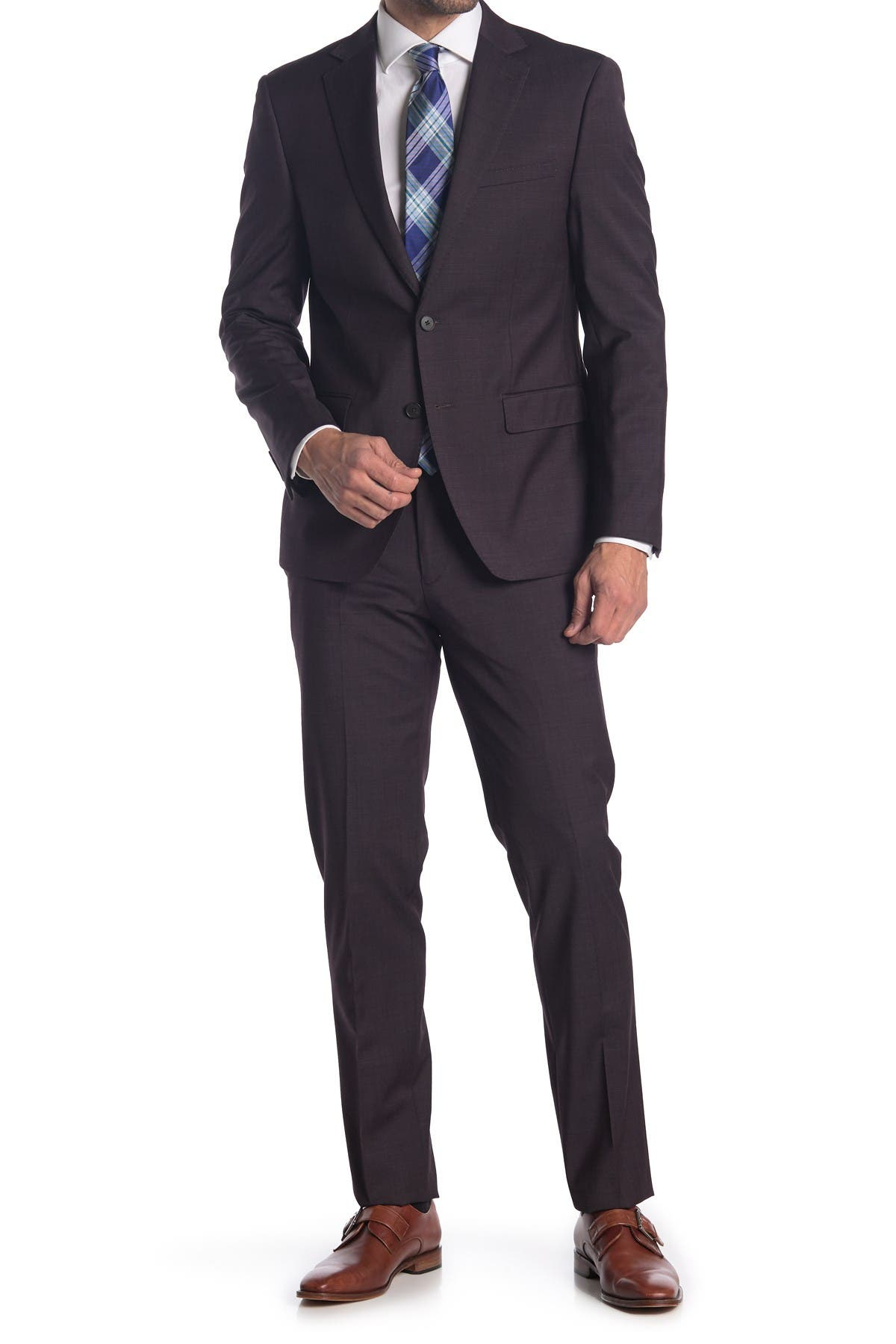 Image of Calvin Klein Burgundy Two Button Notch Lapel Extra Slim Fit Suit