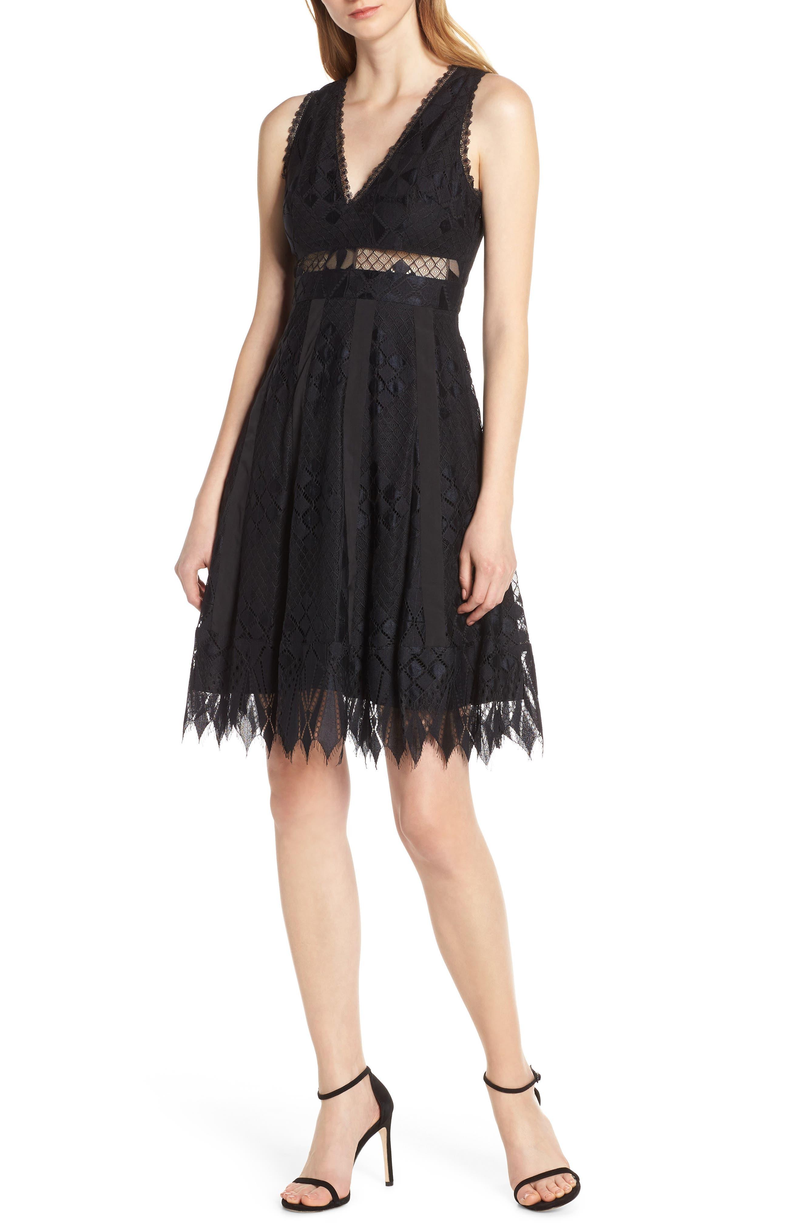 Foxiedox Sabella Lace Fit & Flare Dress, Black