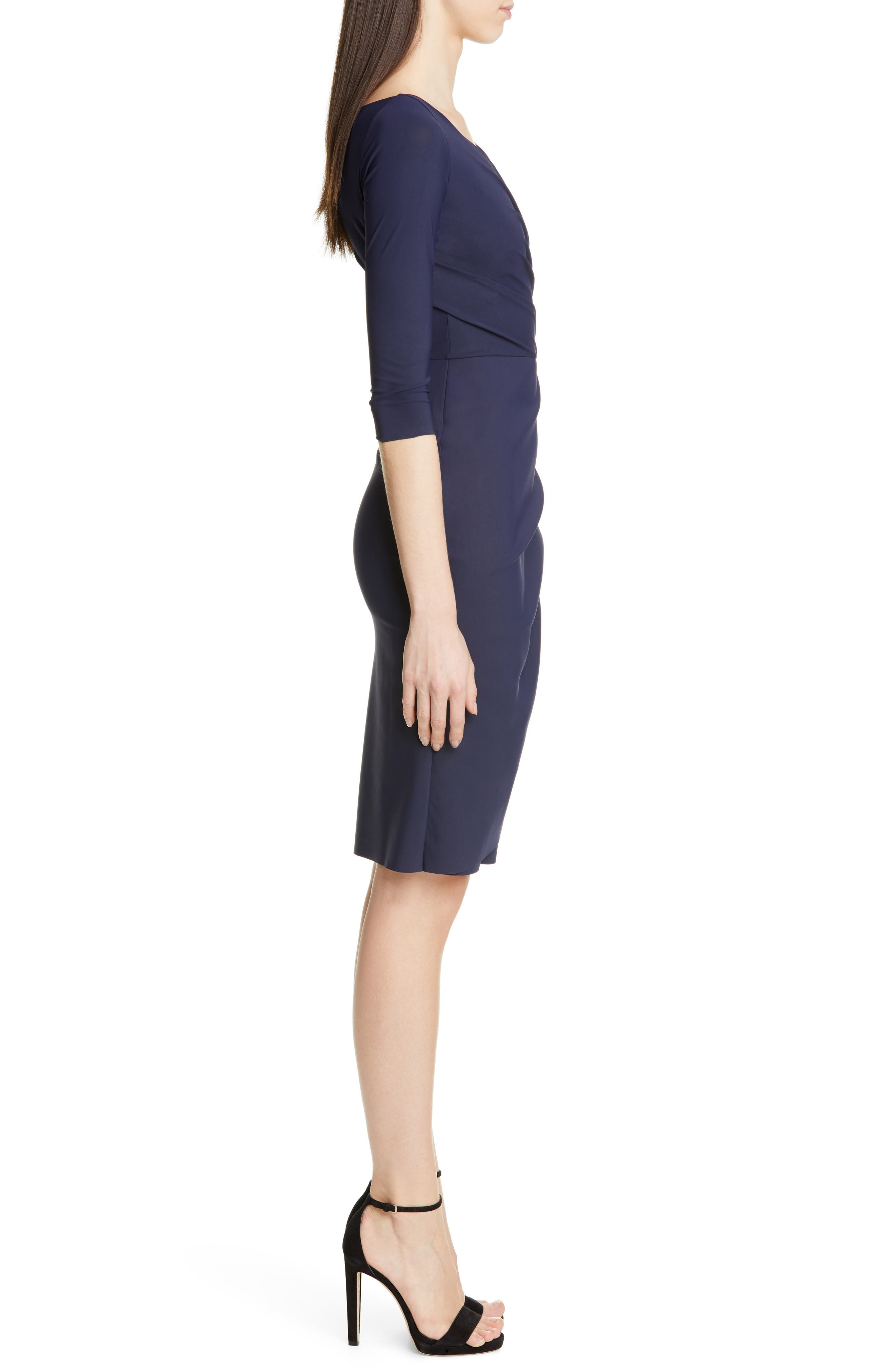 ,                             Florien Ruched Cocktail Dress,                             Alternate thumbnail 4, color,                             MIDNIGHT