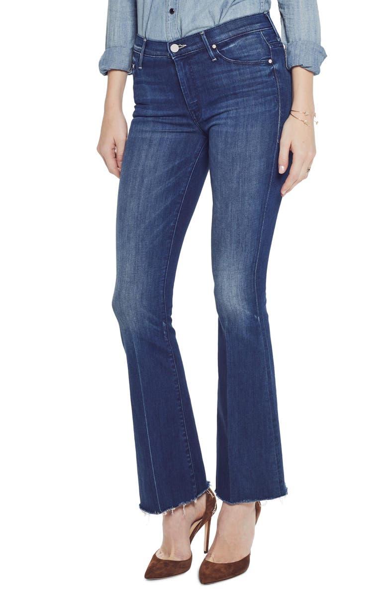 MOTHER High Waist Fray Hem Bootcut Jeans, Main, color, 401