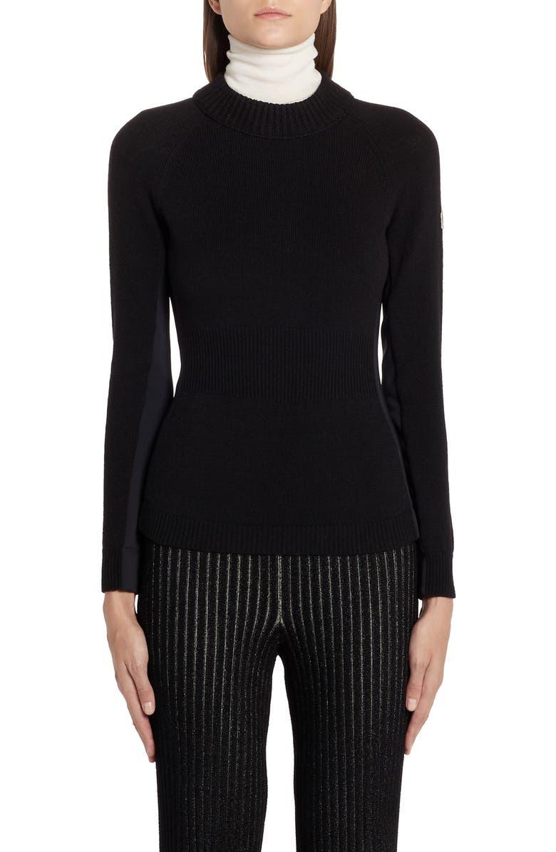 MONCLER Multi Contrast Wool Blend Turtleneck Sweater, Main, color, BLACK