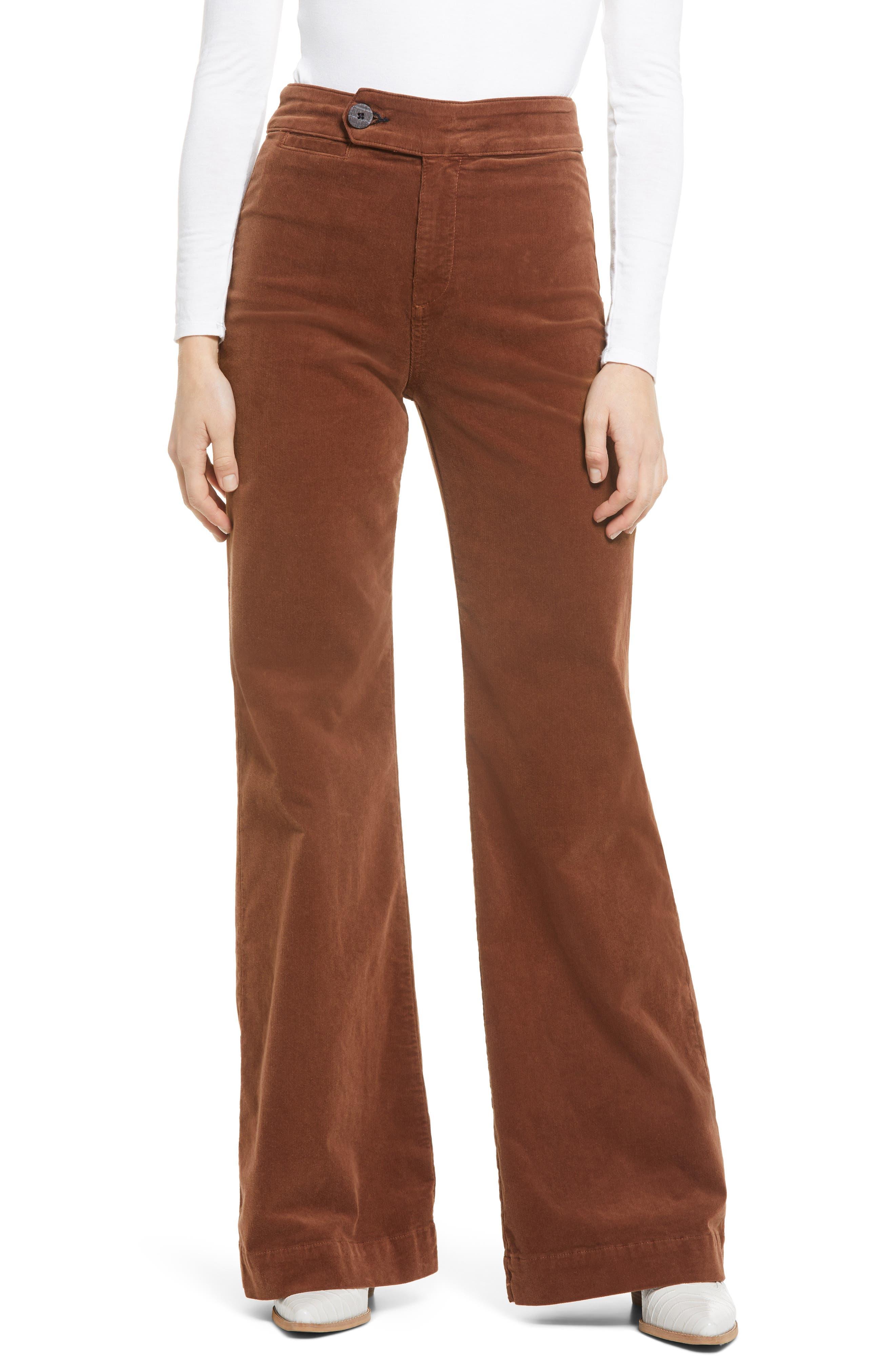 60s Pants, Jeans, Hippie, Flares, Jumpsuits Womens Askk Ny 70S Wide Leg Courduroy Pants Size 32 - Brown $225.00 AT vintagedancer.com
