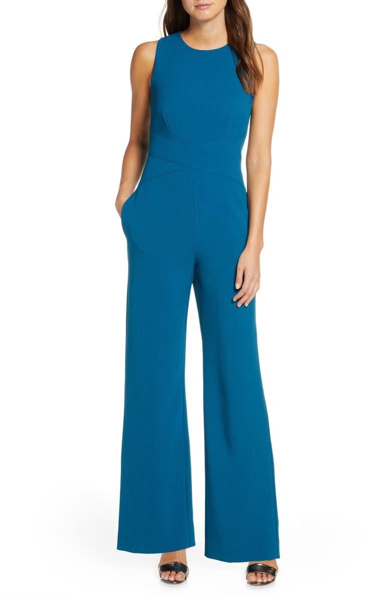 VINCE CAMUTO Crisscross Waist Crepe Jumpsuit, Main, color, TEAL