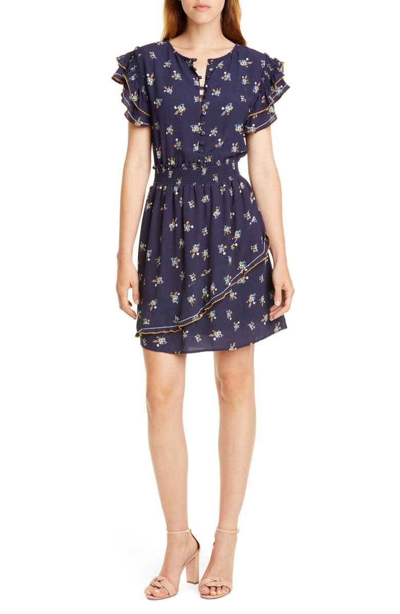 DOLAN Embroidered Smocked Minidress, Main, color, NAVY WILD ASTER PRINT