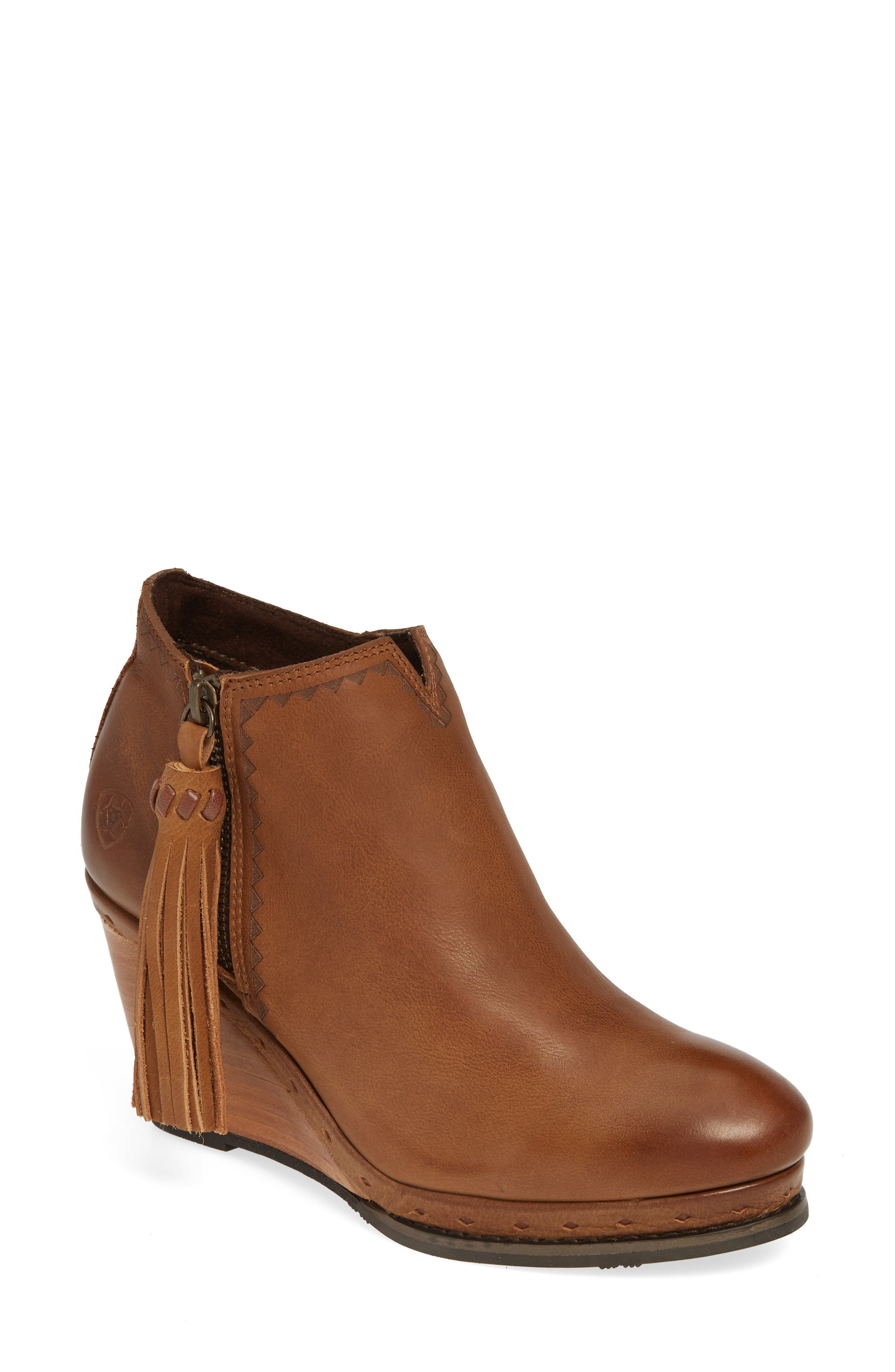 ,                             Graceland Wedge Bootie,                             Main thumbnail 1, color,                             OXFORD TAN LEATHER