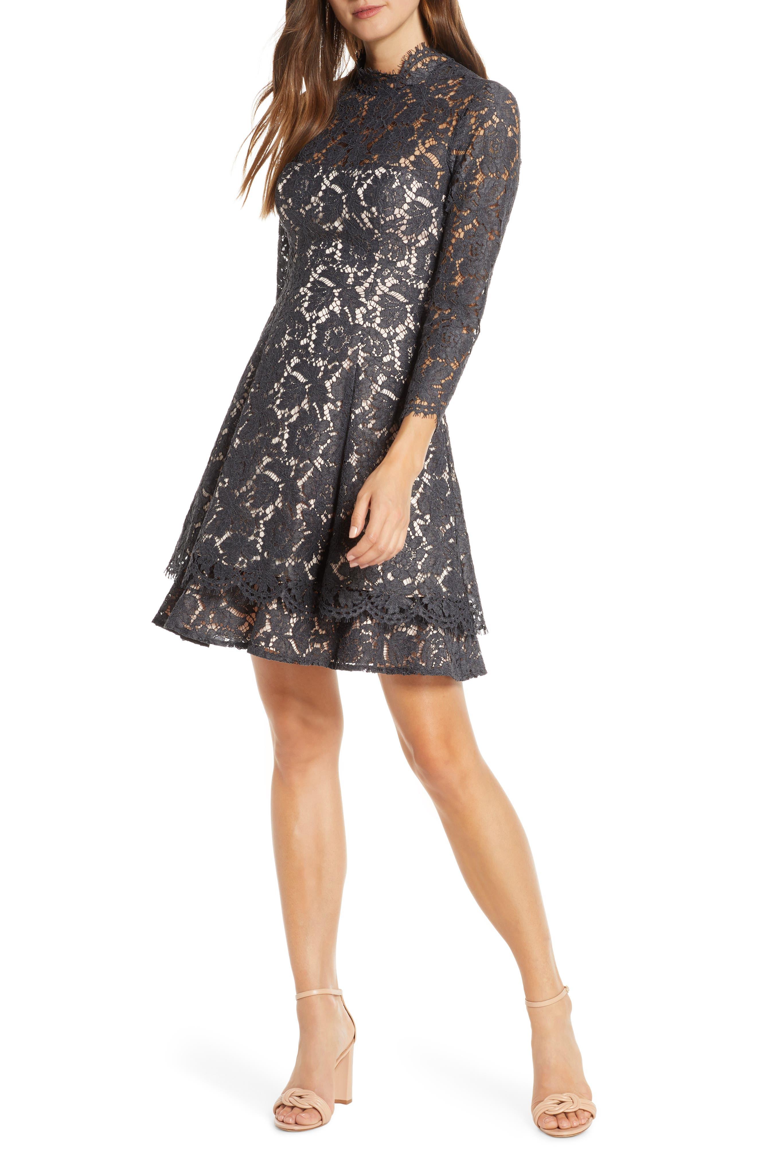 Eliza J Long Sleeve Lace Fit & Flare Dress (Regular & Petite)