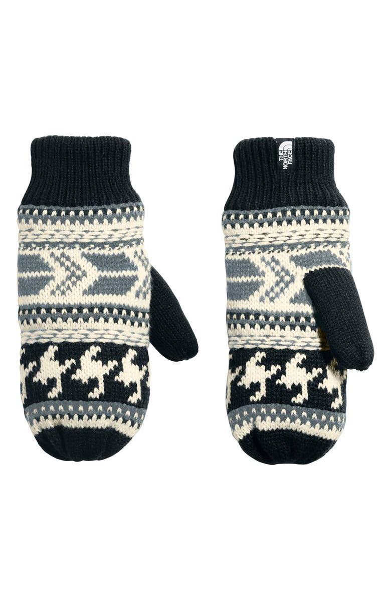 THE NORTH FACE Fair Isle Mittens, Main, color, WEATHERED BLACK/VINT WHITE