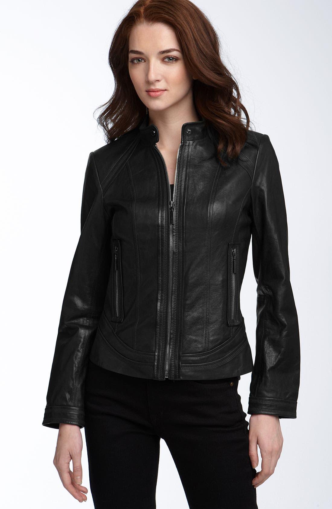 ,                             Seamed Lambskin Leather Scuba Jacket,                             Main thumbnail 1, color,                             001