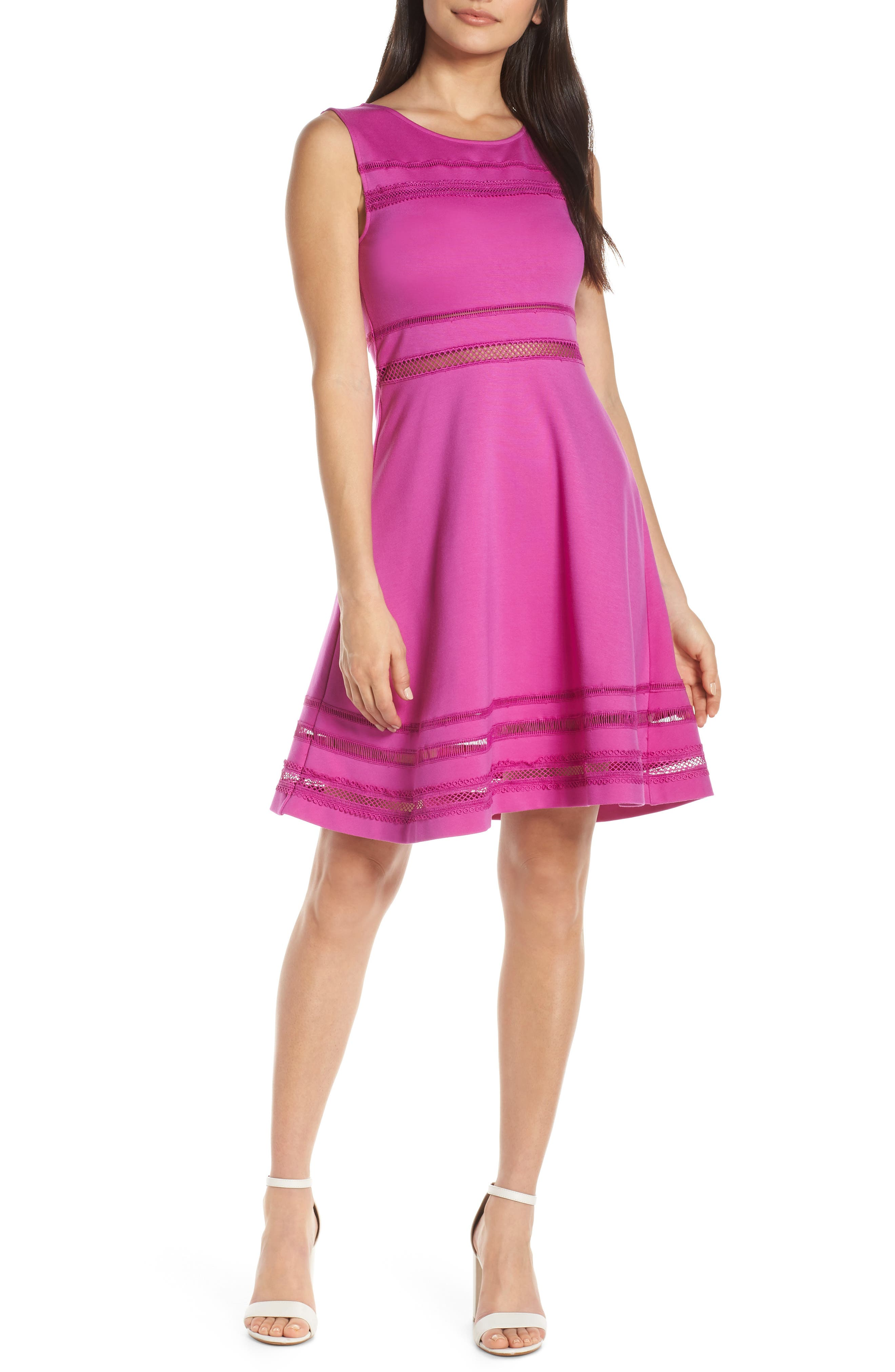 French Connection Scille Lula Jersey Fit & Flare Dress, Purple