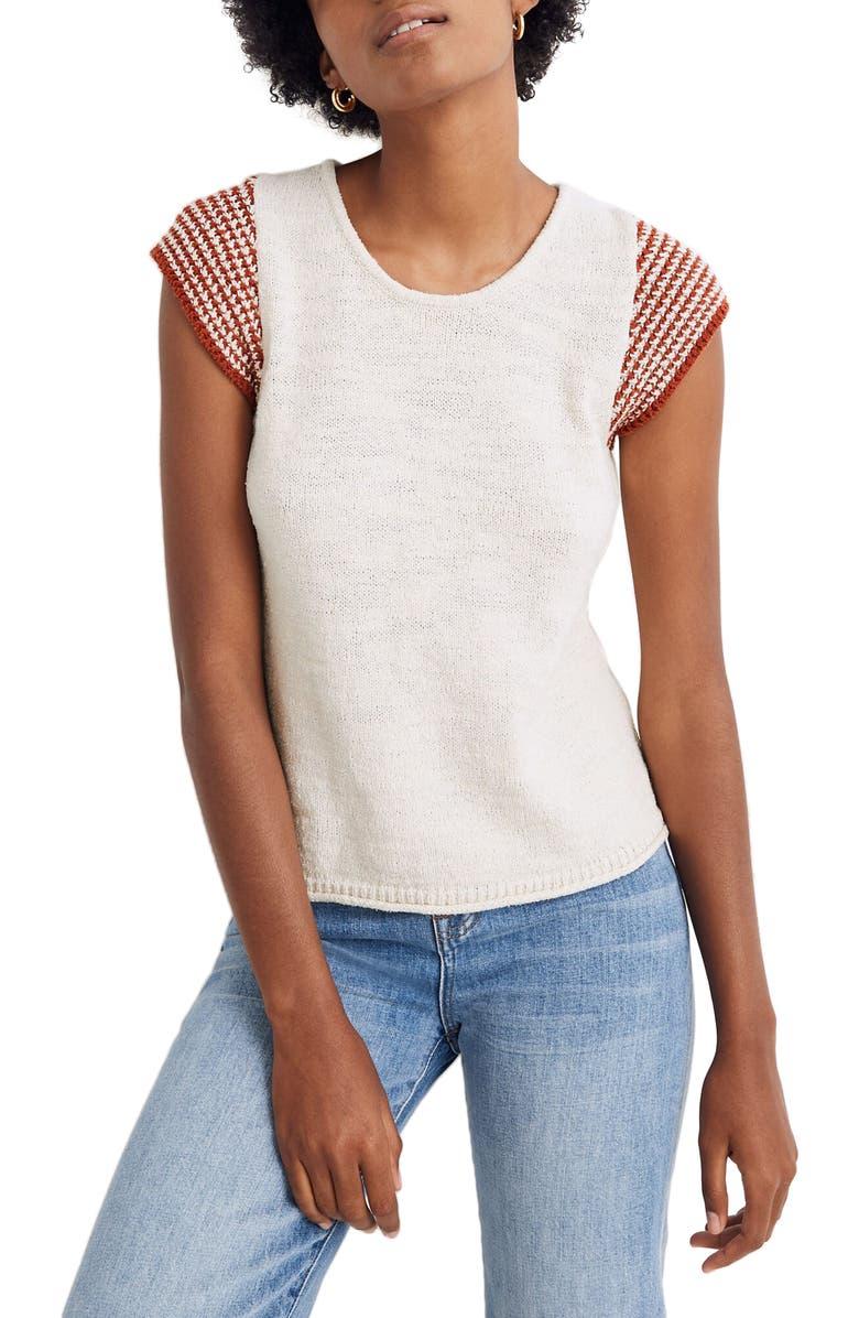 MADEWELL Kimble Stripe Sleeve Sweater, Main, color, ANTIQUE CREAM