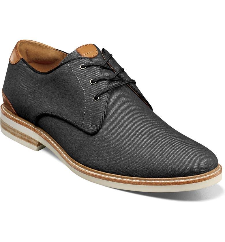 FLORSHEIM Highland Plain Toe Derby, Main, color, BLACK