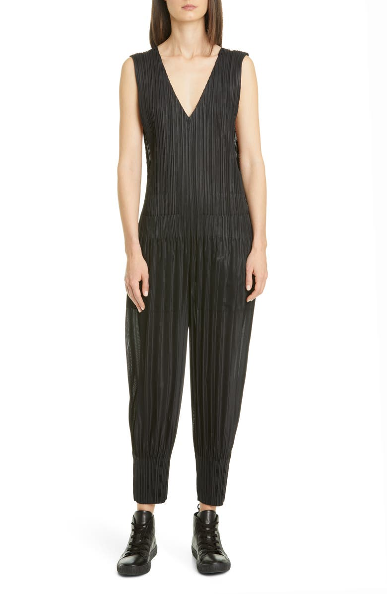 PLEATS PLEASE ISSEY MIYAKE Pleated Jumpsuit, Main, color, 15 BLACK