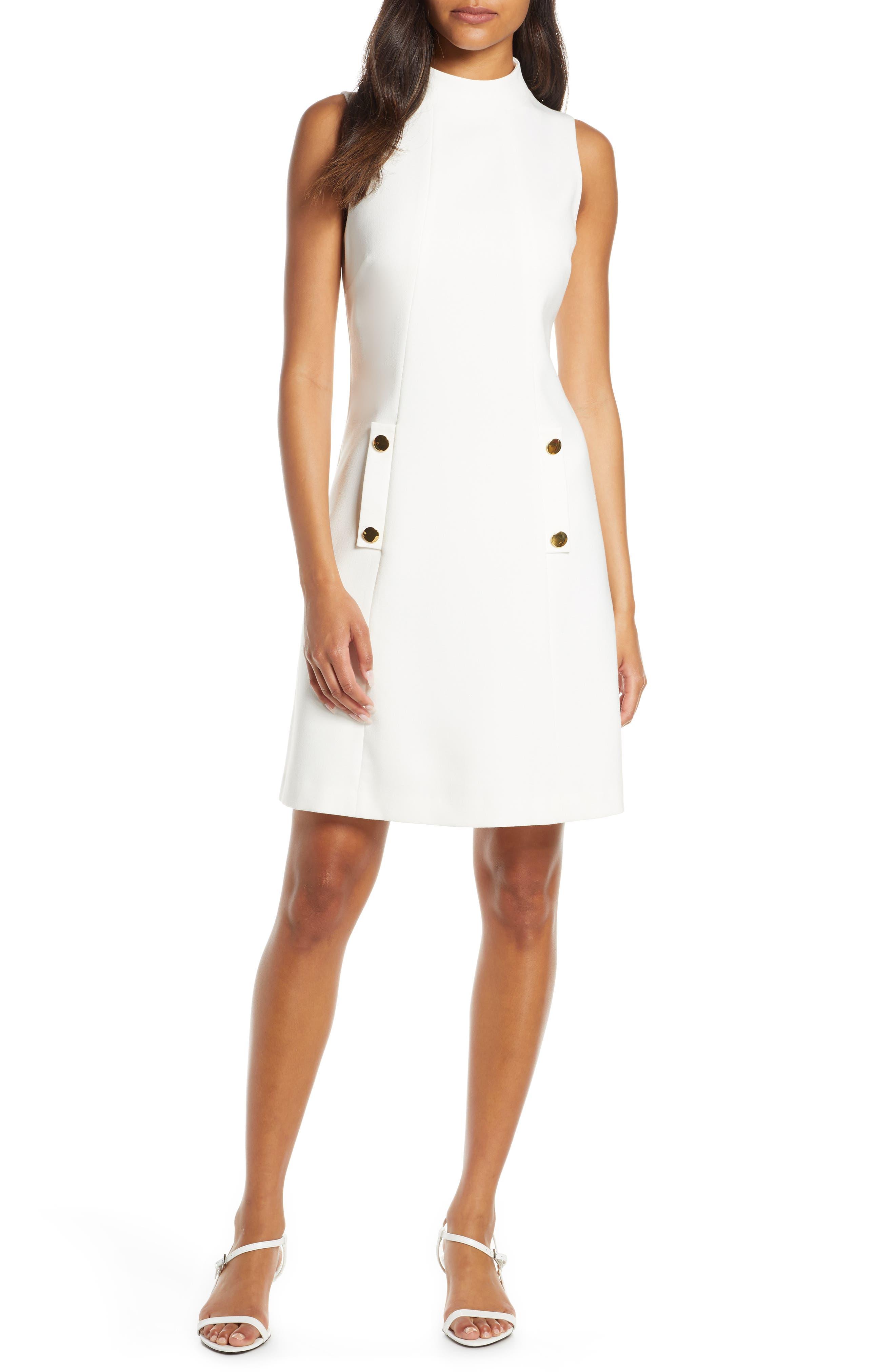 Petite Harper Rose High Neck Dress, Ivory
