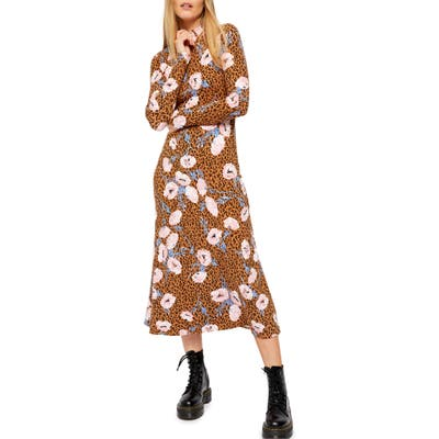Free People Retro Romance Mixed Print Long Sleeve Dress, Brown