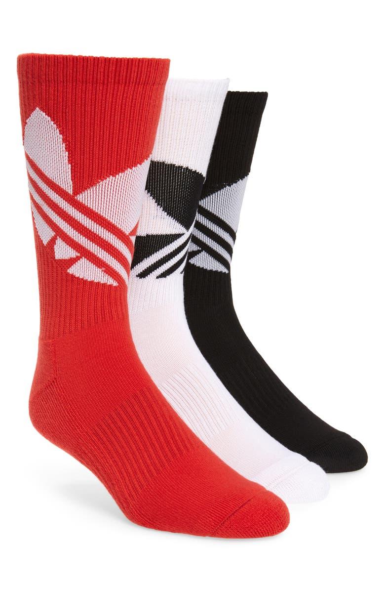 ADIDAS ORIGINALS 3-Pack Big Trefoil Crew Socks, Main, color, 100