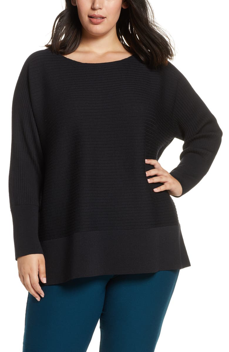 EILEEN FISHER Rib Wool Tunic Sweater, Main, color, 001