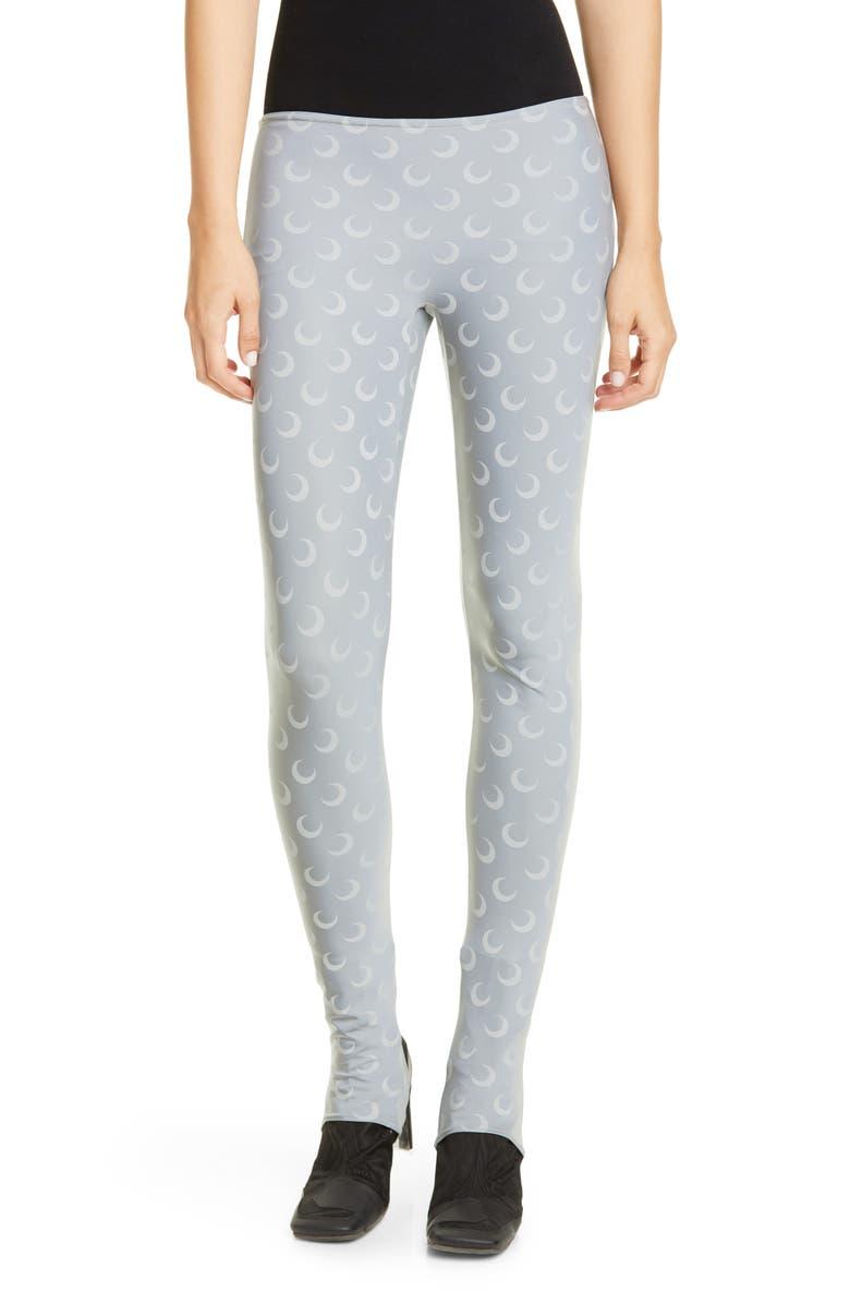 MARINE SERRE Moon Print Jersey Stirrup Leggings, Main, color, REFLECT / ALL OVER MOON GREY