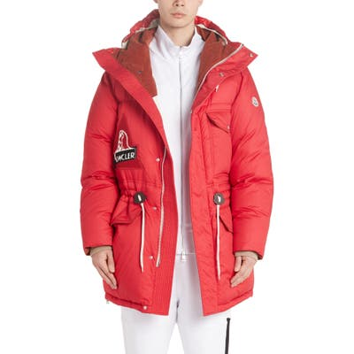 Moncler Dedion Quilted Hooded Parka, Red
