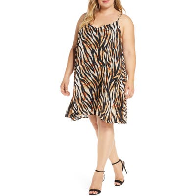 Plus Size Gibson X Hot Summer Nights Almost Ready Pleated Minidress, Brown (Plus Size) (Nordstrom Exclusive)