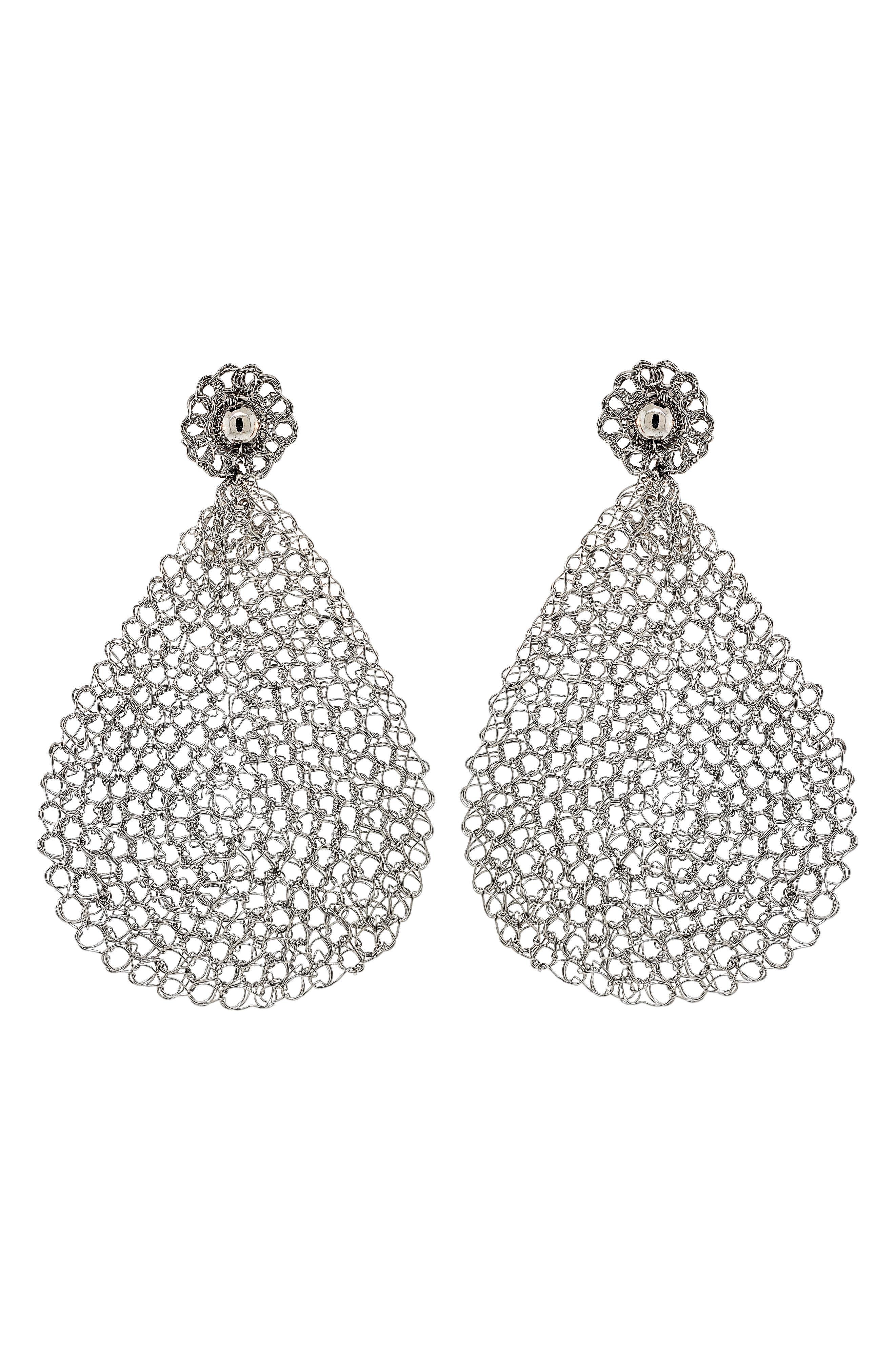 Women's Lavish Crochet Teardrop Earrings