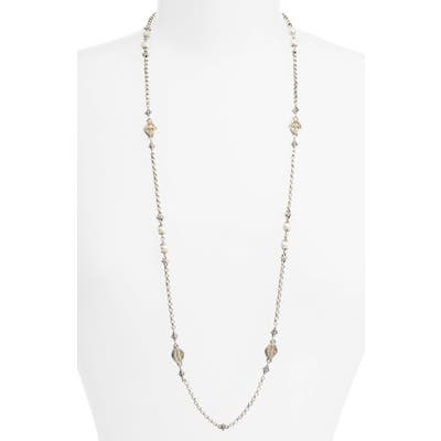 Konstantino Etched Sterling Station Necklace With Genuine Pearl