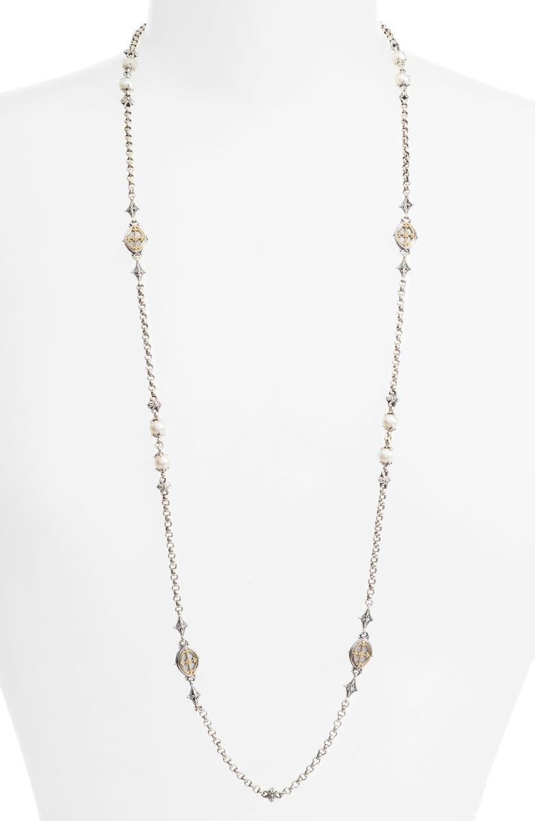 KONSTANTINO Etched Sterling Station Necklace with Genuine Pearl, Main, color, SILVER/ GOLD/ WHITE
