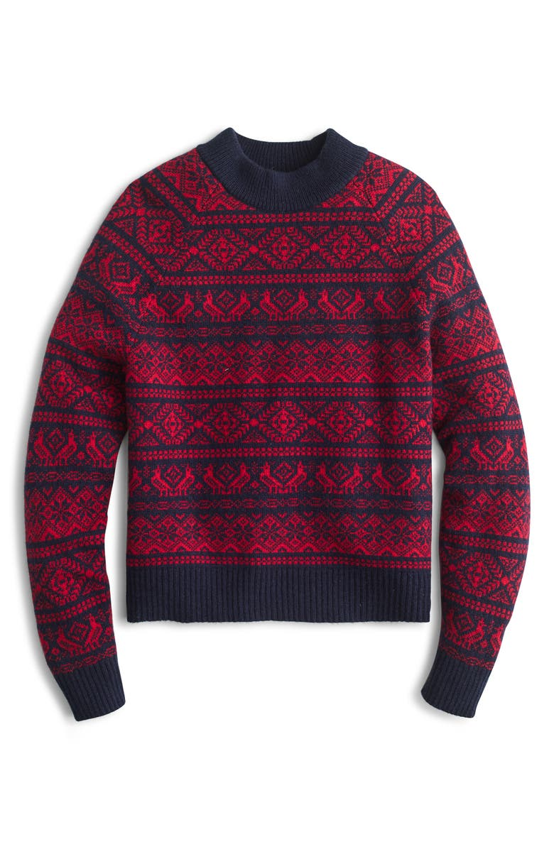 J.CREW Cheerful Fair Isle Mock Neck Sweater, Main, color, 600