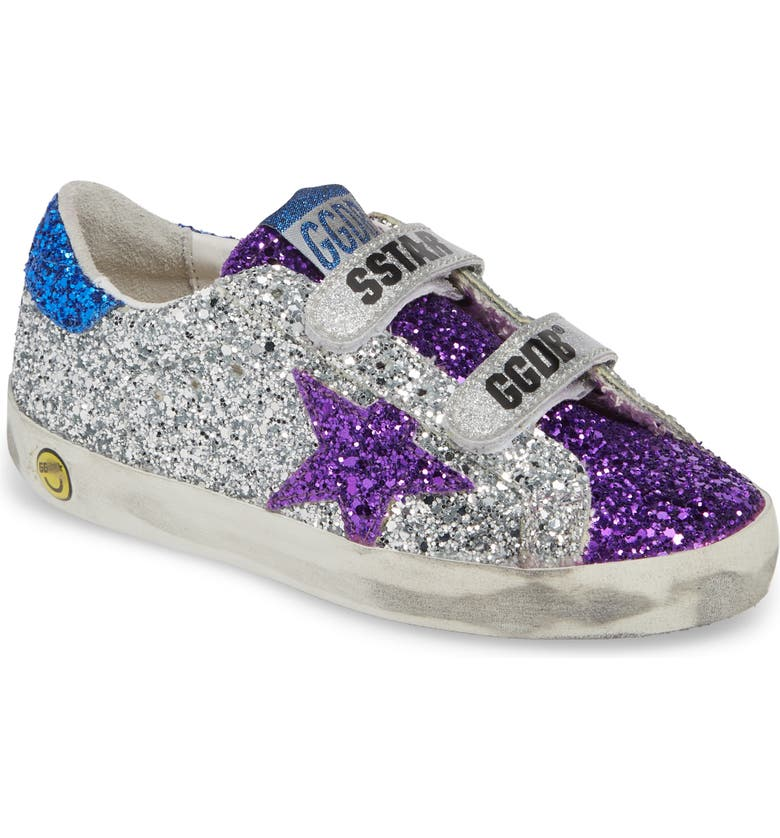 GOLDEN GOOSE Old School Glitter Sneaker, Main, color, SILVER GLITTER/ BLACKBERRY