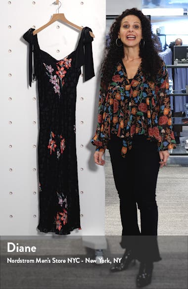 Noha Floral Print Tie Shoulder Midi Dress, sales video thumbnail