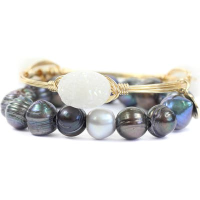 Bourbon And Boweties Drusy Bangle & Cultured Pearl Stretch Bracelet Set