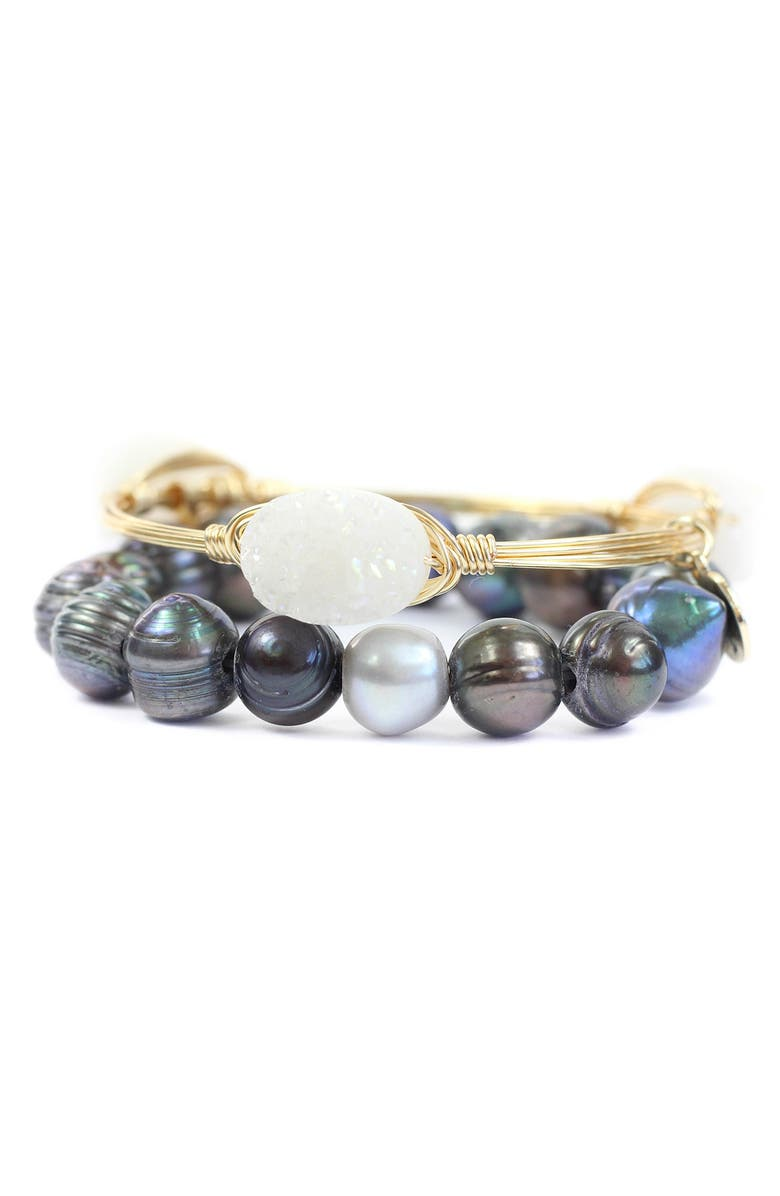 BOURBON AND BOWETIES Drusy Bangle & Cultured Pearl Stretch Bracelet Set, Main, color, OIL/ SILVER AND WHITE/ GOLD