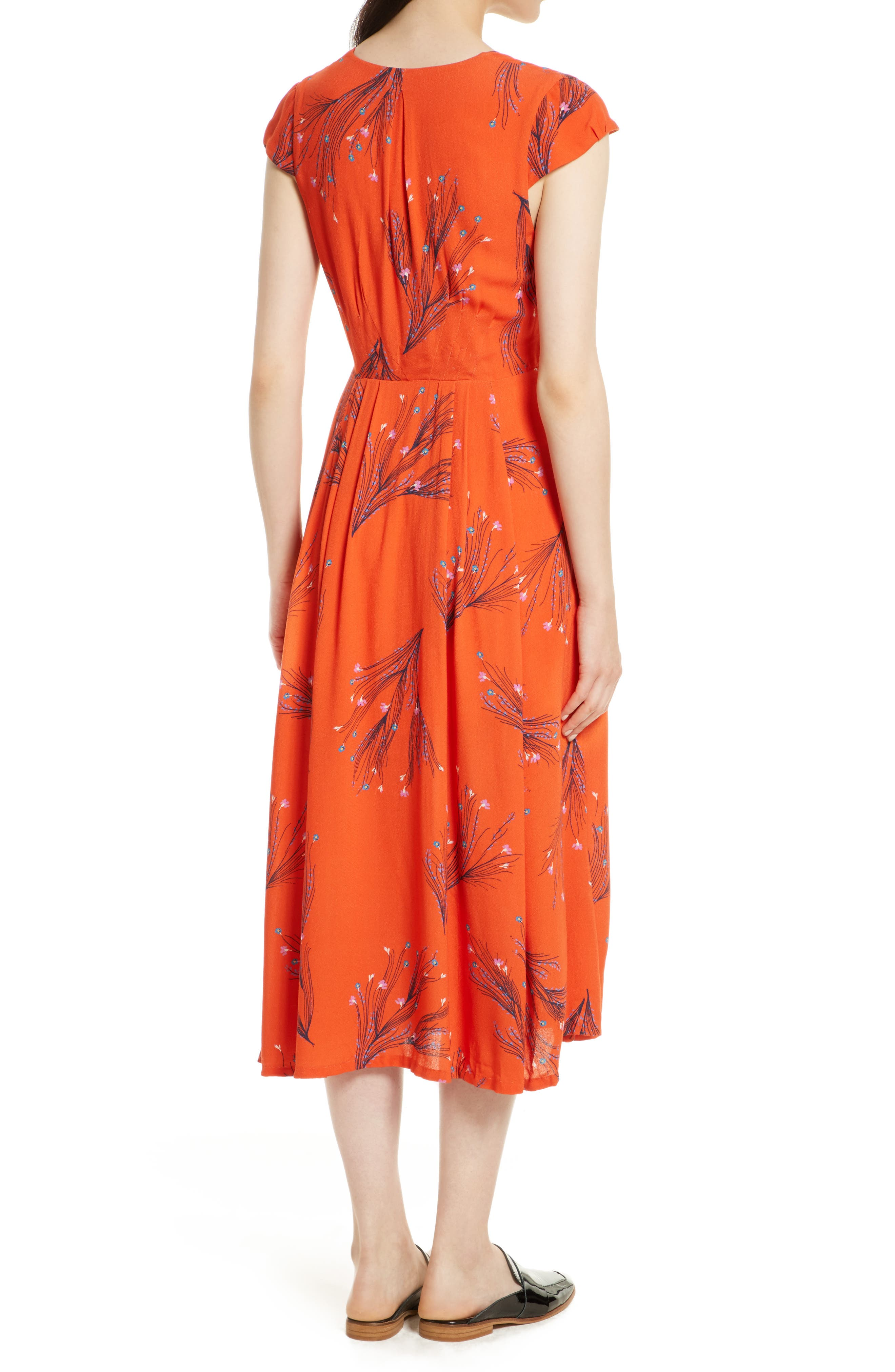 ,                             Print Retro Midi Dress,                             Alternate thumbnail 9, color,                             600