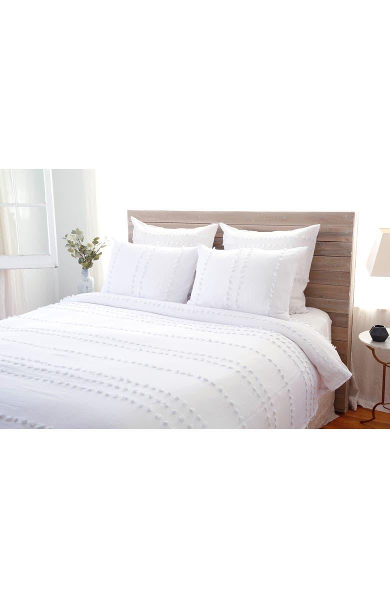 POM POM AT HOME Poppy Lightweight Blanket & Sham Set, Main, color, WHITE/ BARELY BLUE