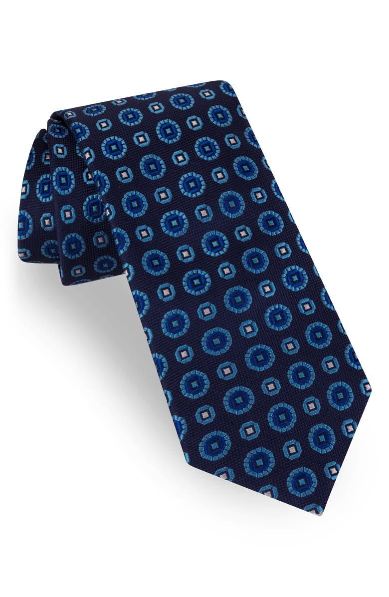 TED BAKER LONDON Medallion Silk Tie, Main, color, NAVY